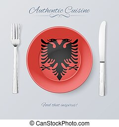 Authentic Cuisine of Albania Plate with Albanian Flag and...