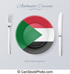 Authentic Cuisine of Sudan. Plate with Sudanese Flag and...