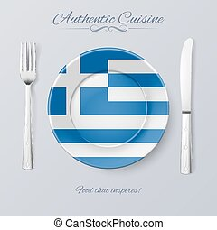 Authentic Cuisine of Greece Plate with Greek Flag and...