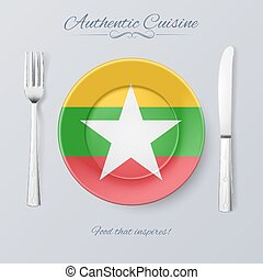 Authentic Cuisine of Myanmar Plate with Flag and Cutlery