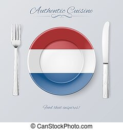 Authentic Cuisine of Netherlands Plate with Dutch Flag and...