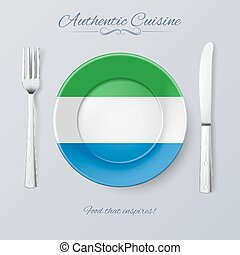 Authentic Cuisine of Sierra Leone. Plate with Flag and...
