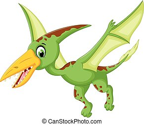 funny pterodactyl cartoon flying - vector illustration of...