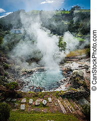 Furnas fumaroles - Geothermal hot water hole in Furnas, Sao...