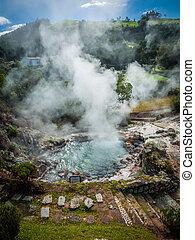 Furnas fumaroles - Geothermal hot water hole in Furnas, Sao...