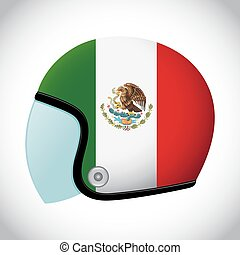 Retro Motorcycle Helmet With Flag of Mexico - Vector stock...