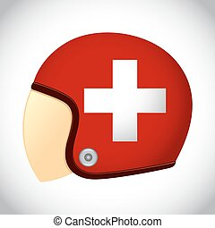Retro Motorcycle Helmet With Flag of Switzerland - Vector...
