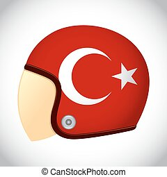 Retro Motorcycle Helmet With Flag of Turkey - Vector stock...