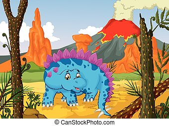 stegosaurus cartoon with volcano - vector illustration of...