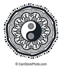 Vintage Yin and Yang in Mandala Tao symbol for print,...