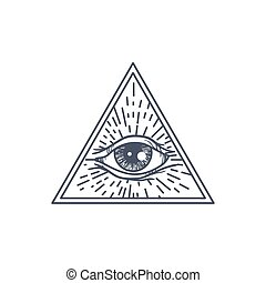 All Seeing Eye in Triangle - Vintage All Seeing Eye in...