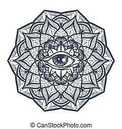 All Seeing Eye in Mandala - Vintage All Seeing Eye in...