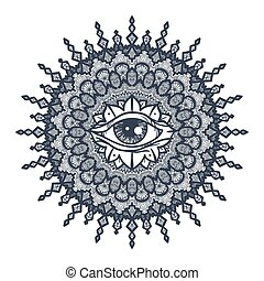 All Seeing Eye in Mandala - Vintage All Seeing Eye in...
