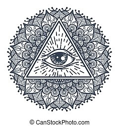 All Seeing Eye in Triangle and Mandal - Vintage All Seeing...