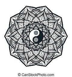 Vintage Yin and Yang in Mandala. Tao symbol for print,...