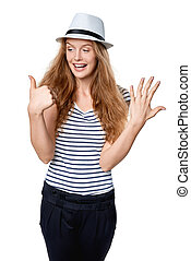 Hand counting - six fingers. Happy excited summer woman in...