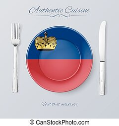 Authentic Cuisine of Liechtenstein Plate with Flag and...