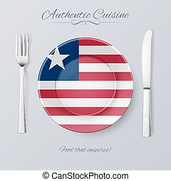 Authentic Cuisine of Liberia Plate with Liberian Flag and...