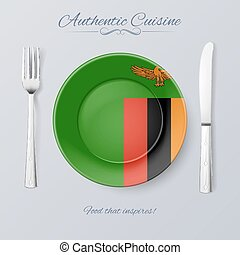 Authentic Cuisine of Zambia. Plate with Zambian Flag and...