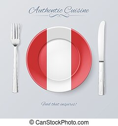 Authentic Cuisine of Peru Plate with Peruvian Flag and...