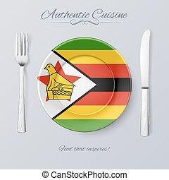Authentic Cuisine of Zimbabwe Plate with Zimbabwean Flag and...