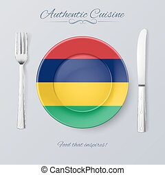 Authentic Cuisine of Mauritius Plate with Mauritian Flag and...