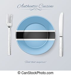Authentic Cuisine of Botswana Plate with Flag and Cutlery