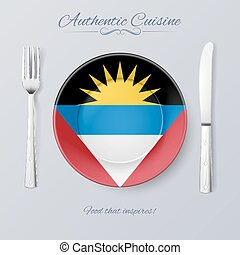 Authentic Cuisine of Antigua and Barbuda Plate with Flag and...