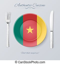 Authentic Cuisine of Cameroon Plate with Cameroonian Flag...