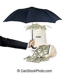 Bag with cash under umbrella
