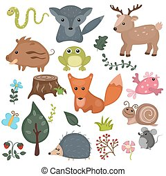 Forest animals - Forest animals vector set of icons and...