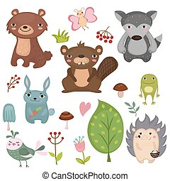 Forest animals. - Forest animals vector set of icons and...