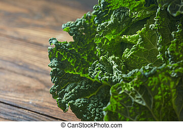 Savoy cabbage super food close up - Single head of Savoy...