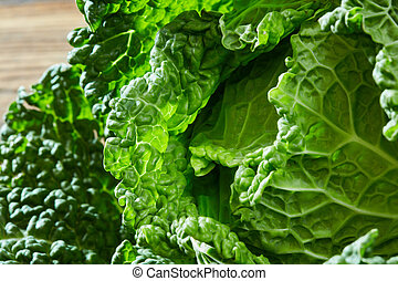 Savoy cabbage texture - The texture of the green head of...