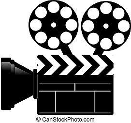 movie clapper and camera