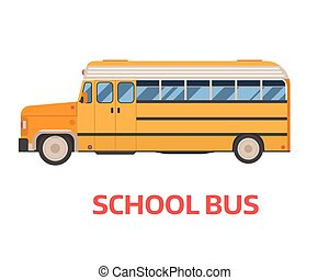 Retro School Bus Illustration - Old style yellow omnibus...