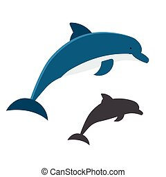 Jumping dolphins icon