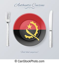 Authentic Cuisine of Angola Plate with Angolan Flag and...