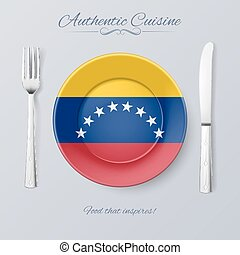 Authentic Cuisine of Venezuela Plate with Venezuelan Flag...