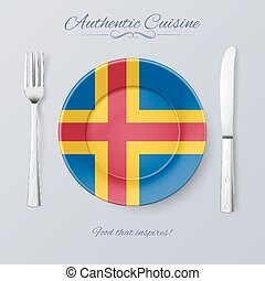 Authentic Cuisine of Aland Islands Plate with Flag and...