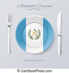 Authentic Cuisine of Guatemala Plate with Guatemalan Flag...