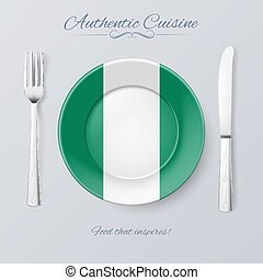 Authentic Cuisine of Nigeria. Plate with Nigerian Flag and...