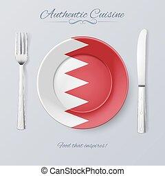 Authentic Cuisine of Bahrain Plate with Bahraini Flag and...