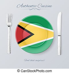 Authentic Cuisine of Guyana. Plate with Guyanese Flag and...