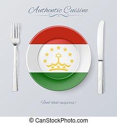 Authentic Cuisine of Tajikistan. Plate with Tajik Flag and...