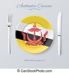 Authentic Cuisine of Brunei Plate with Bruneian Flag and...