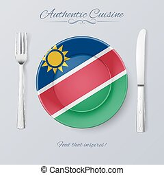 Authentic Cuisine of Namibia. Plate with Namibian Flag and...