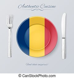 Authentic Cuisine of Chad Plate with Chadian Flag and...