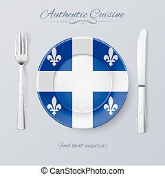 Authentic Cuisine of Quebec. Plate with Flag and Cutlery