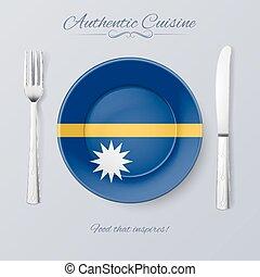 Authentic Cuisine of Nauru. Plate with Nauruan Flag and...